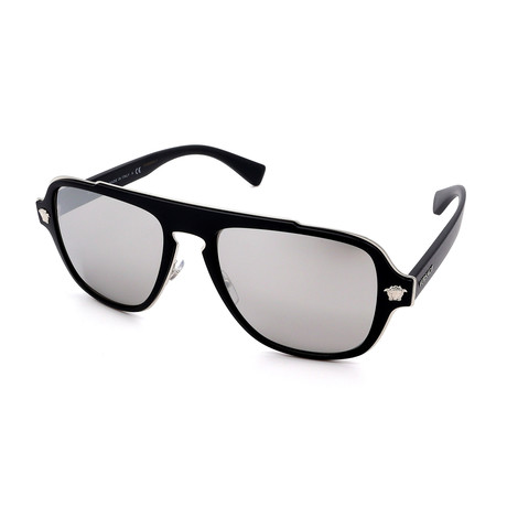 Versace // Men's GV2199-10006G Sunglasses // Matte Black + Silver Mirror