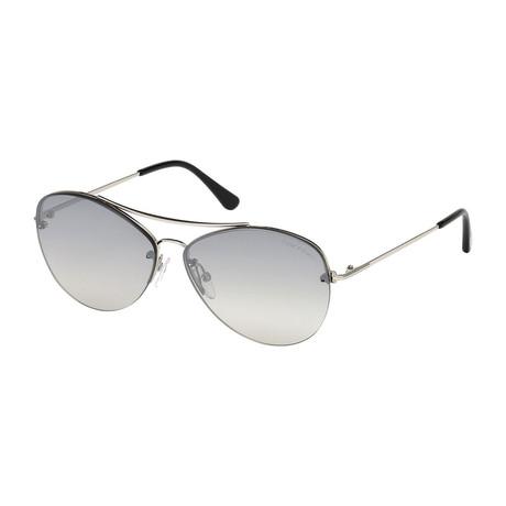 Women's Margret Sunglasses // Silver + Gray Gradient