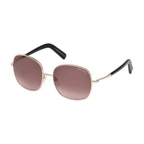 Women's Georgia Sunglasses // Gold + Burgundy Gradient