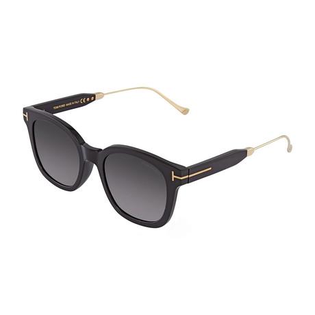 Unisex Sunglasses // Black Gold + Gray Gradient