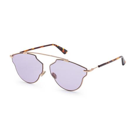 Women's SOREALPOPS-006J-59A9 Sunglasses // Gold Havana + Red