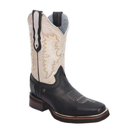 Rodeo Square Boot // Black + White (US: 7EE)