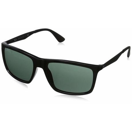 Men's Designer Sunglasses // 58mm // Black Frame + Green Lens