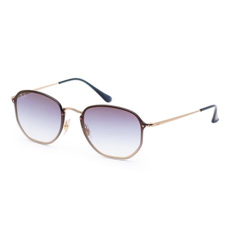 Unisex Hexagonal Sunglasses // 58mm // Demi Gloss Gold Frame
