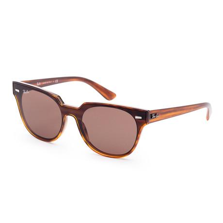 Unisex Meteor Sunglasses // 39mm // Striped Havana + Red Frame