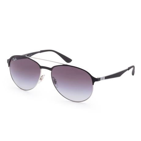 Men's Designer Sunglasses // 59mm // Silver + Matte Black Frame