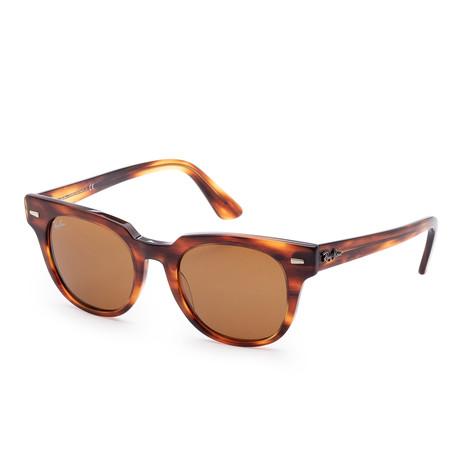Unisex Meteor Classic Sunglasses // 50mm // Striped Havana Frame + Brown Lens