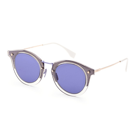 Men's Fashion Round Sunglasses // 47mm // Gray + Blue Frame