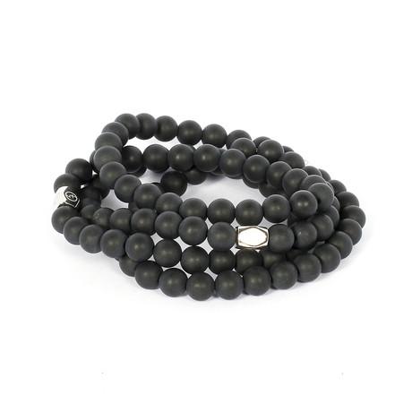 Jean Claude Jewelry // Triple Wrap Matte Agate + Polygon Bracelet // Black + Silver