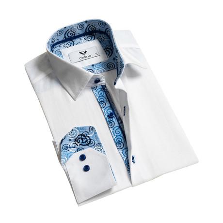 Swirl Reversible Cuff Button-Down Shirt // White (S)