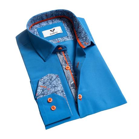 Reversible Cuff Button-Down Shirt // Medium Blue (S)