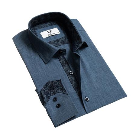 Reversible Cuff Button-Down Shirt // Denim Blue (S)