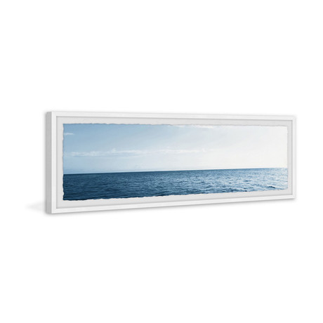 """Wide Blue Sea // Framed Painting Print (30""""W x 10""""H x 1.5""""D)"""