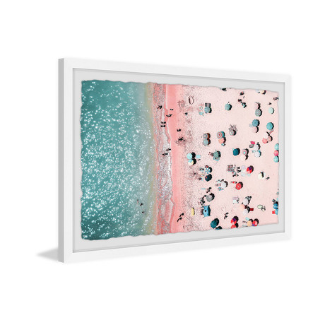"""Pink Summer Sand // Framed Painting Print (12""""W x 8""""H x 1.5""""D)"""
