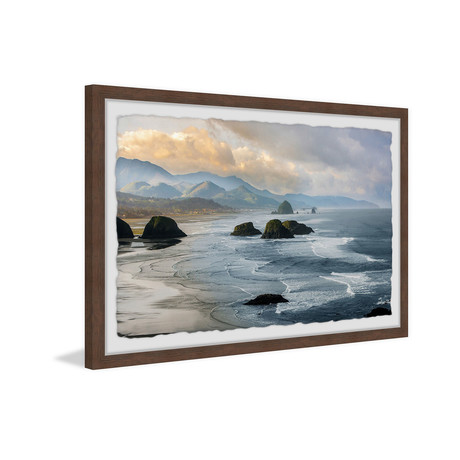 """Haystack Rock Formations // Framed Painting Print (18""""W x 12""""H x 1.5""""D)"""