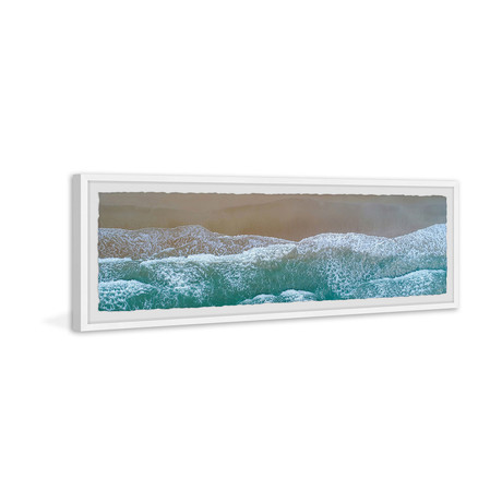 """Amazing Seaside Waves // Framed Painting Print (30""""W x 10""""H x 1.5""""D)"""