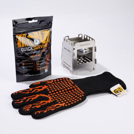 3-Piece Bundle // Fire Safety Gloves + 12 Fire Starters + Mini Foldable Camping Stove