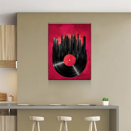 "Vinyl Skyline (24""W x 18""H x 0.75""D)"
