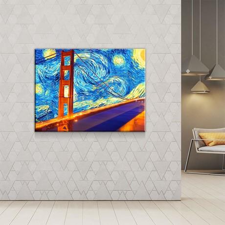 """Golden Gate Starry Night (24""""W x 18""""H x 0.75""""D)"""