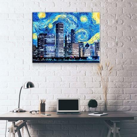 "Chicago Starry Night (24""W x 18""H x 0.75""D)"