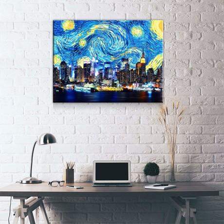 "New York Starry Night Sky (24""W x 18""H x 0.75""D)"
