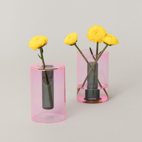 Reversible Glass Vase // Small (Pink + Green)