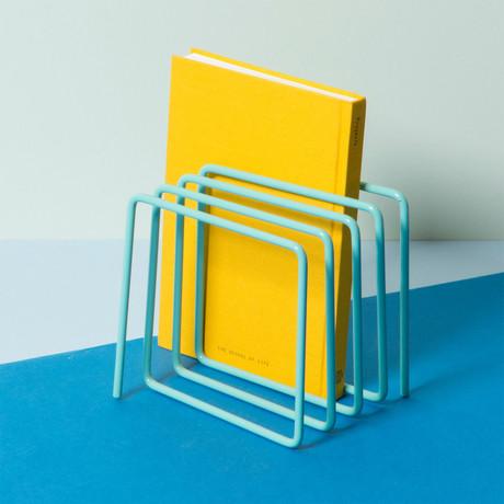 Metal Magazine + Vinyl Rack (Light Blue)