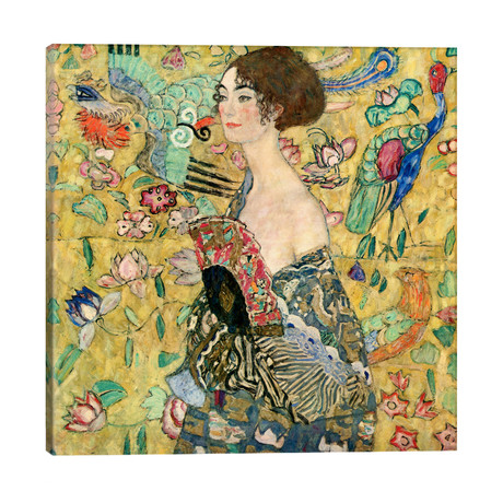 "Lady with a Fan // Gustav Klimt (26""W x 26""H x 1.5""D)"