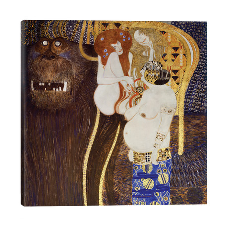 """Detail Of The Hostile Forces (The Head Of Typhoeus & Unchastity, Voluptuousness, Excess), Beethoven Frieze, 1902 // Gustav Klimt (26""""W x 26""""H x 1.5""""D)"""