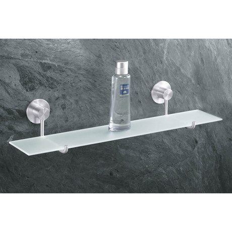 Marino // Bathroom Shelf + Frosted Glass Shelf, Brushed Finish