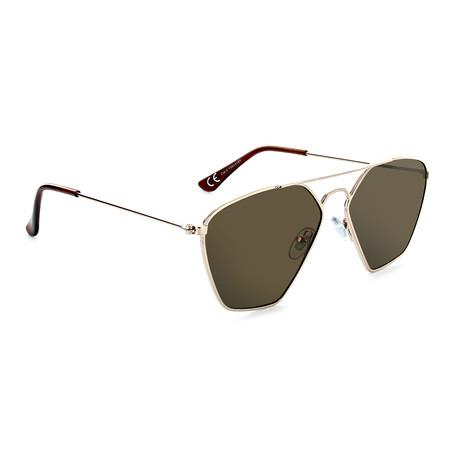 Unisex Geo Polarized Sunglasses // Gold