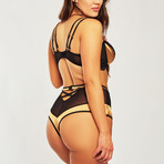 Plus Size Mesh Bra + High Waist Panty // Gold + Black (2XL)