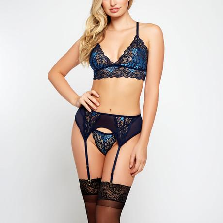 Lace Bralette + Garter + G-String // Blue (S)