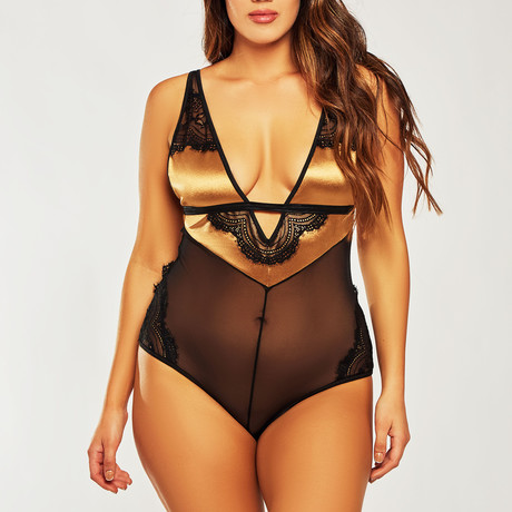 Plus Size Mesh + Lace Teddy // Gold + Black (1XL)
