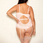 Plus Size Lace Criss Cross Front Teddy // Champagne (3XL)