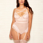 Plus Size Lace Criss Cross Front Teddy // Champagne (1XL)