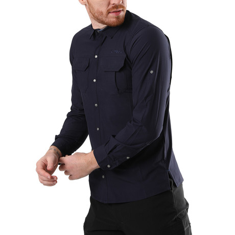 Hudson Button Down Shirt // Navy Blue (XS)