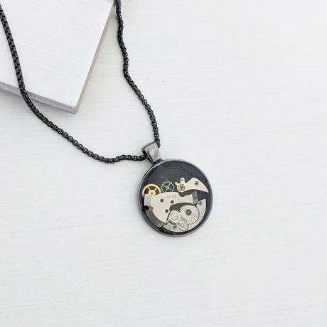 Round Watch Gear Pendant Necklace // Black + Gunmetal + Gold