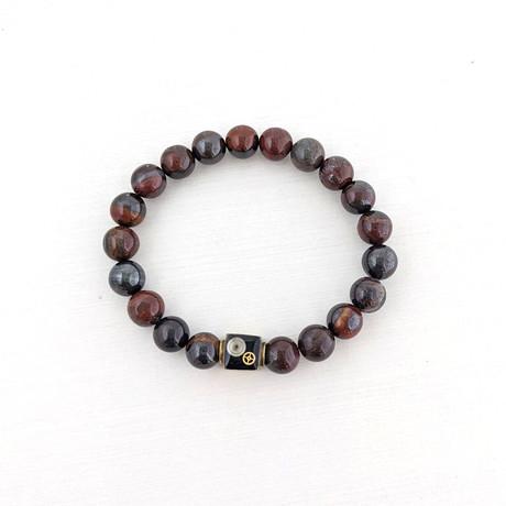 Tiger Iron Bead Bracelet // Red + Gold