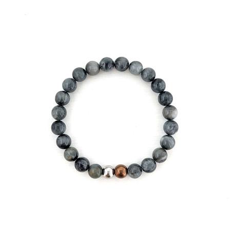 Eagle Eye Bead Bracelet // Gray + Copper + Silver