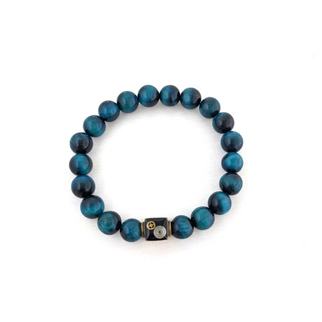 Blue Tiger's Eye Bead Bracelet // Blue + Gold