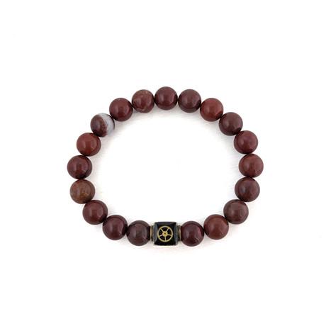 Red Jasper Bead Bracelet // Red + Gold