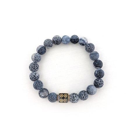Black Weathered Agate Bead Bracelet // Black + Gold