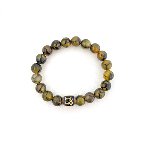 Dragon Veins Agate Bead Bracelet // Olive + Gold