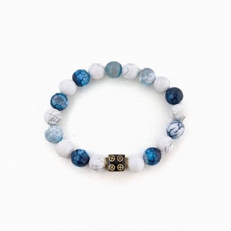 Crackle Agate + Howlite Bead Bracelet // Blue + White + Gold