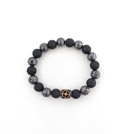 Lava Bead Bracelet // Black + Gunmetal + Gold