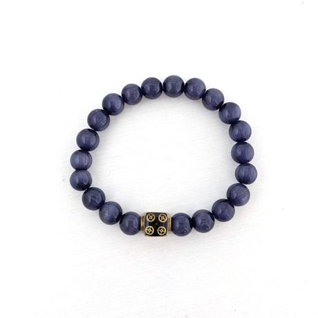 Cat Eye Bead Bracelet // Purple + Gold