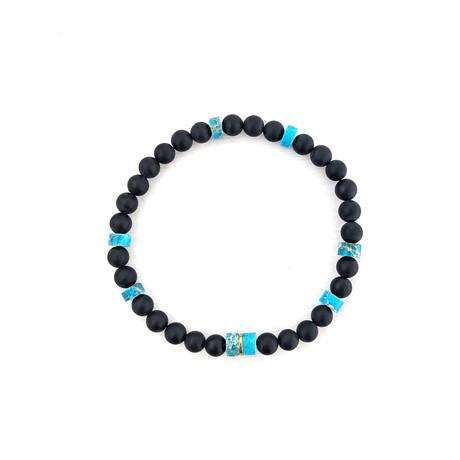 Black Agate + Imperial Jasper Bead Bracelet // Blue + Black
