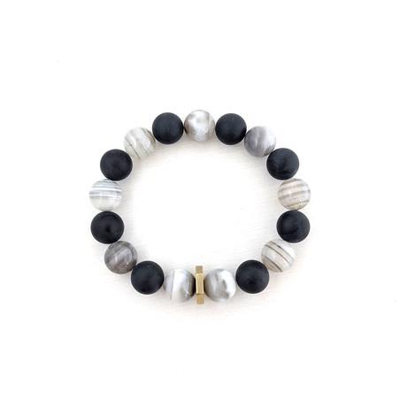 Banded Agate + Black Agate Bead Bracelet // Off White + Black + Gold