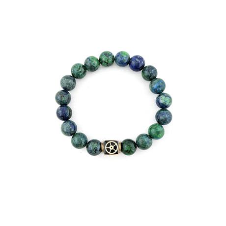 Chrysocolla + Lapis Lazuli Mix Bead Bracelet // Blue + Green + Gold